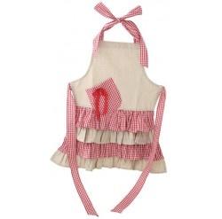 Alimrose Linen/Red Ruffle Girls Apron
