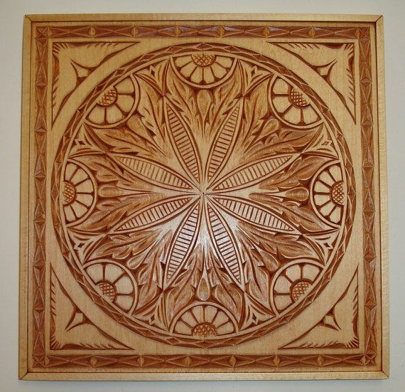 Hand carved solid wood ceiling tile by holiwood on etsy