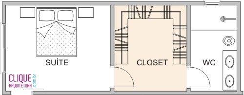 Closet: Aspectos Construtivos - Clique Arquitetura Adorei o banheiro depois do closet, dessa forma fica muito melhor para após o banho ter privacidade para se arrumar☺️