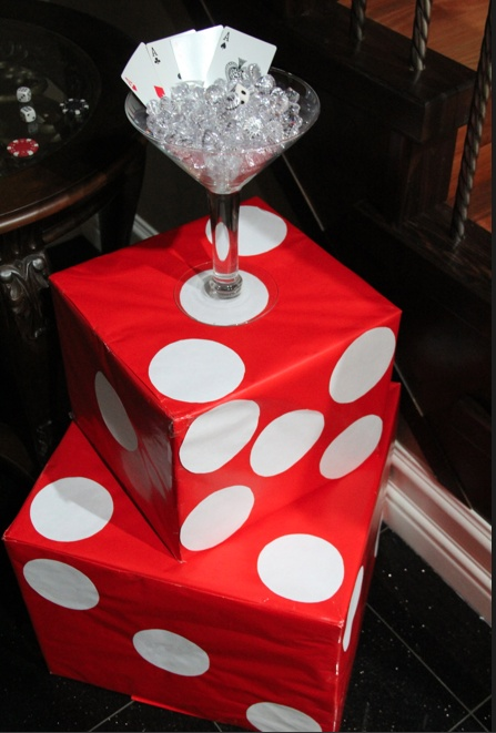 Diy jumbo dice and martini glass filled with diamonds for 007 decoration ideas