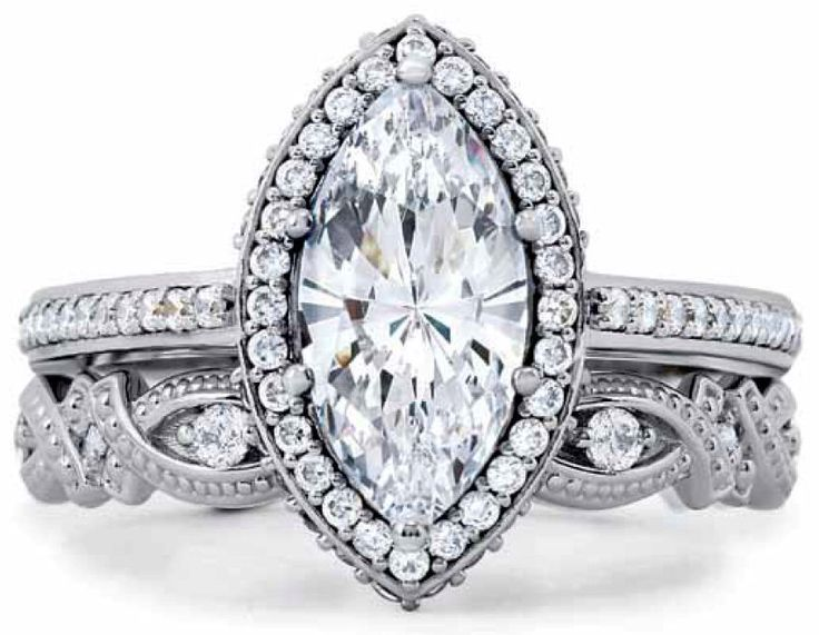 Halo Bridal Set Solitaire Marquise Diamond Engagement Ring Band Ring Pin