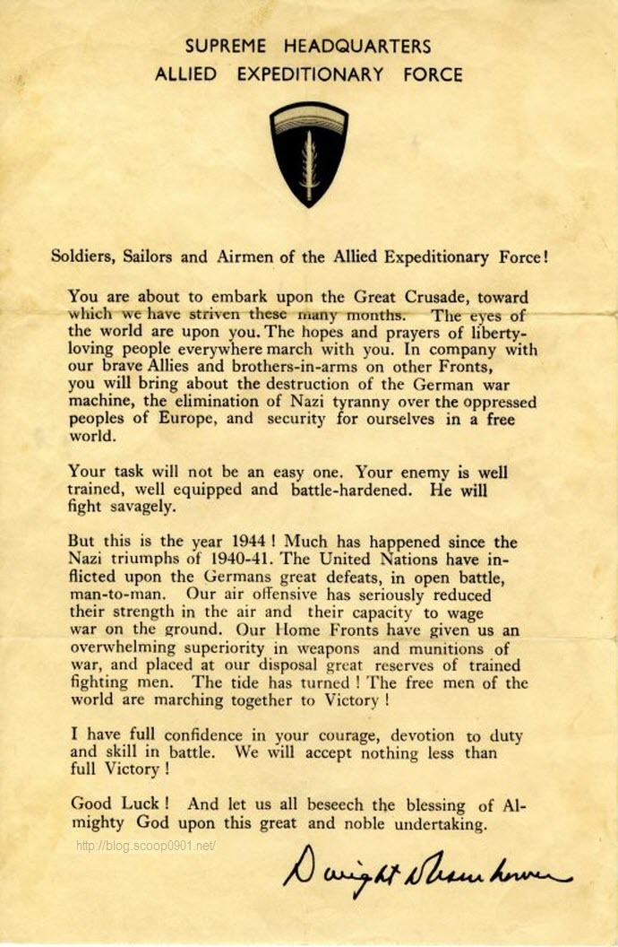 A piece of history. This is a copy of General Eisenhower's message to the invasion force. This message was read aloud to every stick of 101st Airborne Soldiers before they emplaned for Normandy. [h/t 101st ABN]