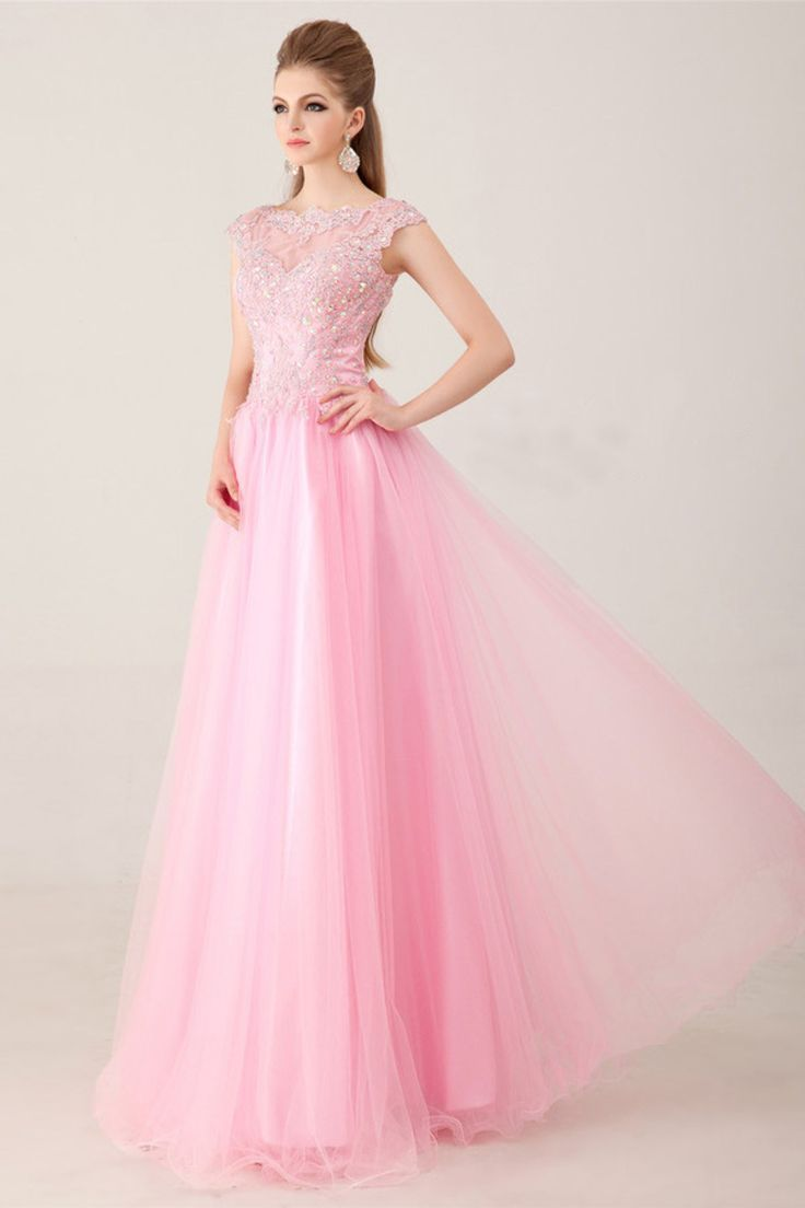 2014 Noble Scoop Neckline Cap Sleeve Prom Dress Beaded Bodice With Long Tulle Skirt