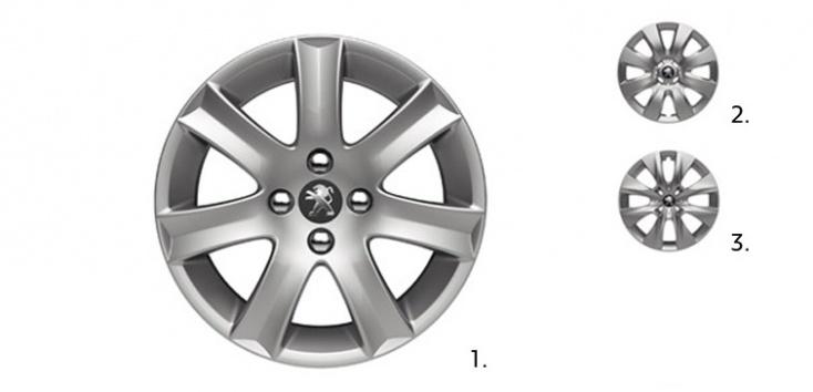 """Rines disponibles para el Peugeot 301.    1 - Rines de aleación de aluminio 16'' tipo """"SPA"""" Disponible en versión ALLURE  2 - Rines de acero de 15"""" con tapón completo """"HOBART"""". Disponible en versión ACTIVE  3 - Rines de acero de 15"""" con tapón completo """"BORE"""". Disponible en la versión ACCESS"""