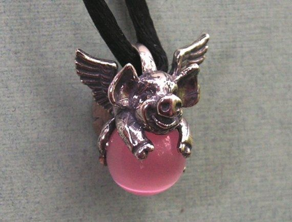 Sterling Silver Flying Pig Pendant With Pink by westernmountain, $18.00