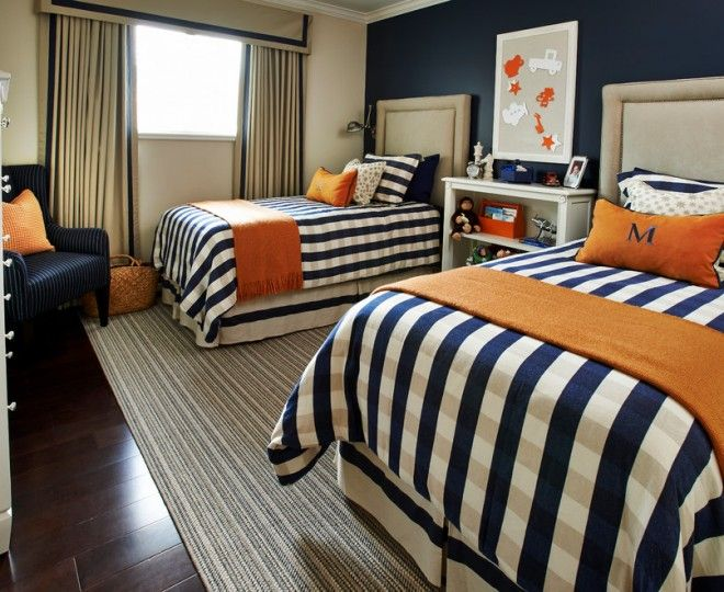 coral and navy drapes - Google Search | Bedroom Ideas