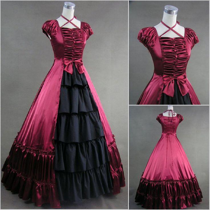 Estilo Vintage E Gótico Bolha Sequare Pescoço Mangas Curtas Vermelho E Preto Gótico Vitoriano vestido de Baile Vestidos de Noite(China (Mainland))