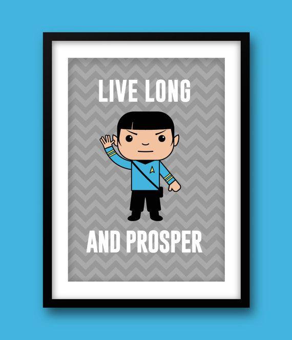 Star Trek inspired wall art, kids wall art, Star Trek, Spock print, Star Trek…