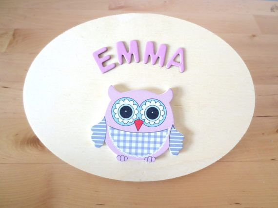 Kids Door Sign  Owl Personalised Door Sign   by FyneHandmadeCards