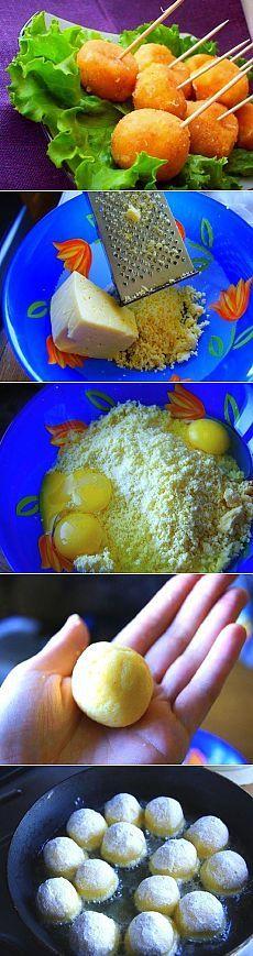 Как приготовить сырные шарики жареные с чесноком - рецепт, ингридиенты и фотографии