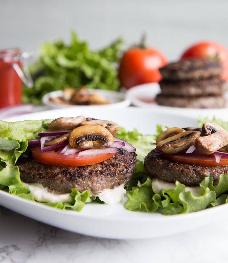 Blending mushrooms with lean meats, such as bison, is the trick to keeping burgers juicy and tender. These burgers are served bun-free for a protein-packed meal.