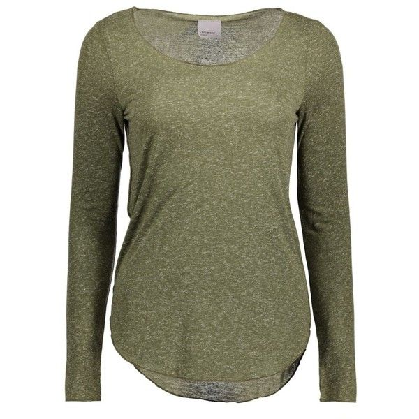 vmlua ls top noos 10158658 vero moda t-shirt ivy green (1.040 CLP) ❤ liked on Polyvore featuring tops, t-shirts, green tee, green top, green t shirt, vero moda and vero moda tops