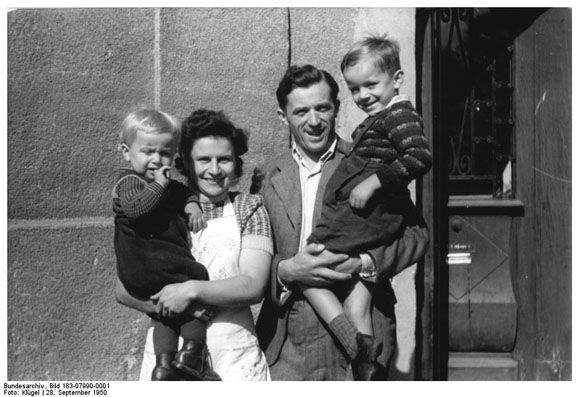 """A Model """"New Farmer"""" and his Family (September 1950) - The """"New Farmer"""" is shockingly similar to the nuclear family propaganda that was common in the US>"""