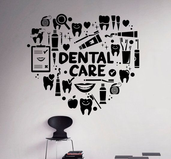 Dental cuidado pared calcomanía dentista vinilo pegatina pared arte Decor Home Interior cuarto de baño de diseño 9(dtl)