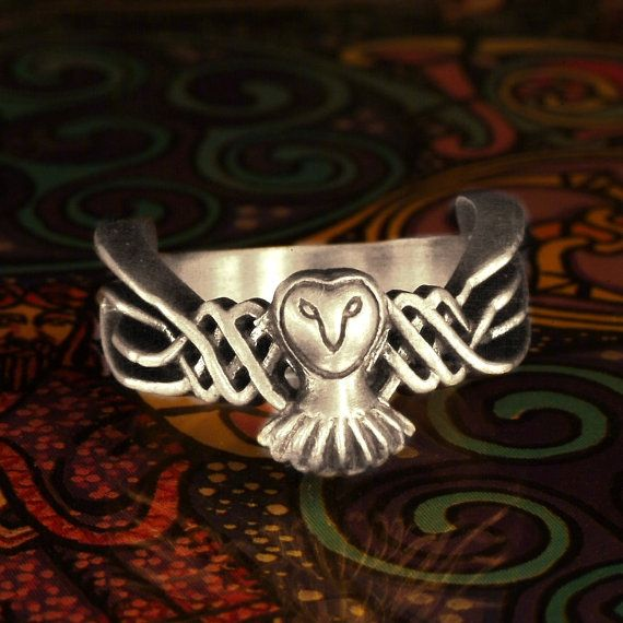 Celtic Owl Ring 925 Sterling Silver Owl Ring by CelticEternity