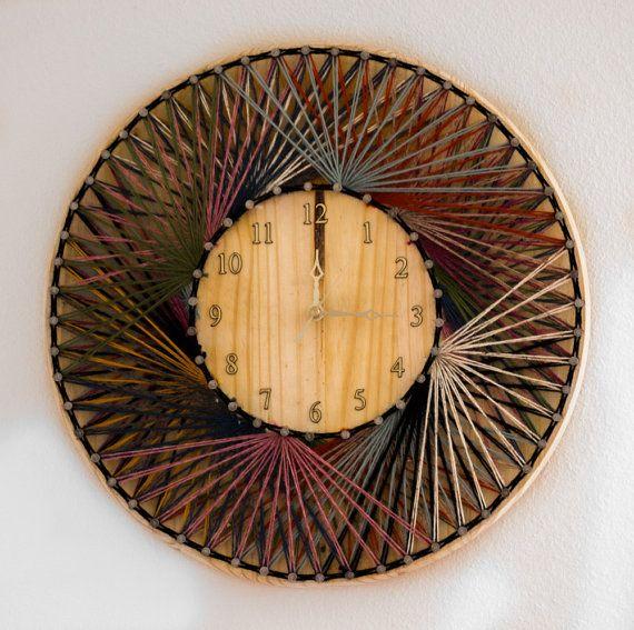 String Art Clock  Wood Wall Clocks  Hand by InterestingInteriors