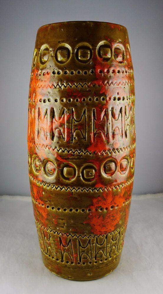 Italian Art Pottery Brown & Orange Modern Carved Vase - Bitossi Raymor (?) #Bitossi #Modern