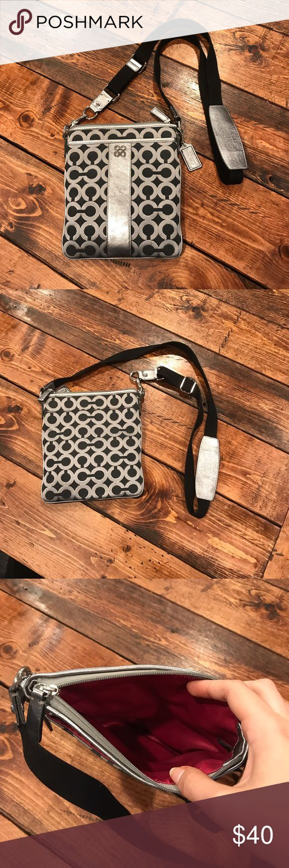 Silver Coach swingpack crossbody Silver Coach bag with purple lining with the Julia OP art pattern. Bag is in good used condition. Reasonable offers accepted! Coach Bags Crossbody Bags