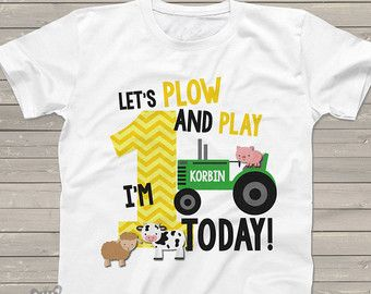 First 1st birthday shirt  green tractor plow and by zoeysattic