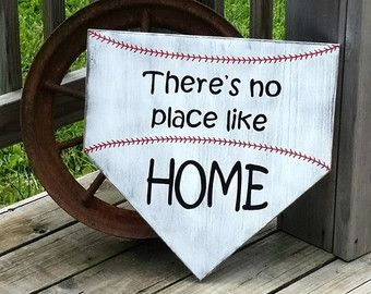 Baseball Sign Theres No Place Like Home by RusticLaneCreations