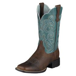 Quickdraw Ladies' Boots by Ariat - Hardworking cowgirl's boot, that likes to step out. A broad range of shaft styles; there's a choice for everyone. ATS™ technology cradles the foot, and the Duratread® rubber sole protects and lasts.