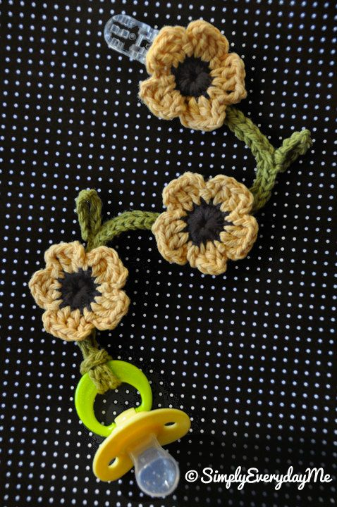 Sunflower Crochet Pacifier Clip= Well I can't make it but I can get someone to do it once I need it for grandchildren!!