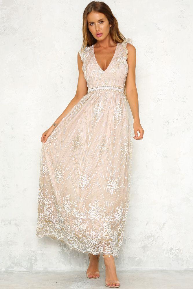 Glitter Trail Maxi Dress Bronze