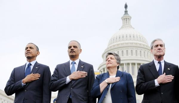 From L to R : U.S. President Barack Obama, Attorney General Eric Holder , Secretary of Homeland Security Janet Napolitano and FBI Director Robert Muller attend at the 32st Annual National Peace Officers Memorial Service at the West Front Lawn of the U.S. Capitol in Washington, DC on May 15, 2013. Senior officials including President Barack Obama attend the annual event to honor law enforcement who were killed in the line of duty in the previous year. UPI/Olivier Douliery/Pool