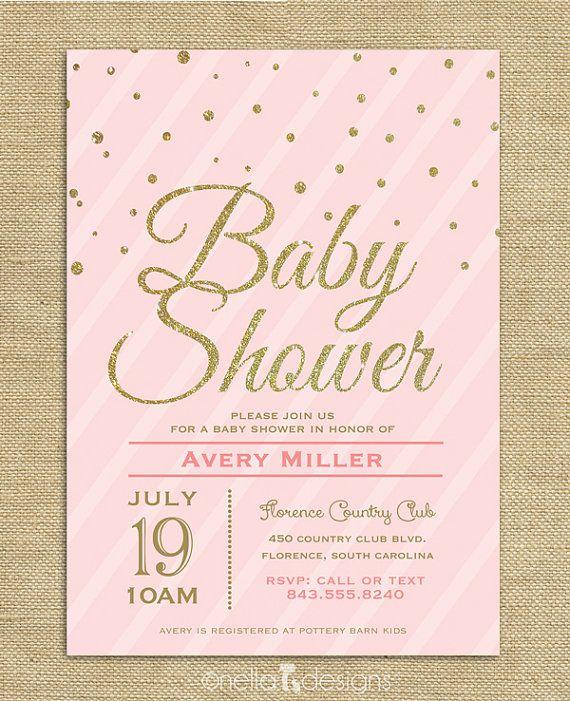 Blush Pink & Gold Glitter Baby Shower Invitation Confetti Stripes Baby Girl Printable Digital Download