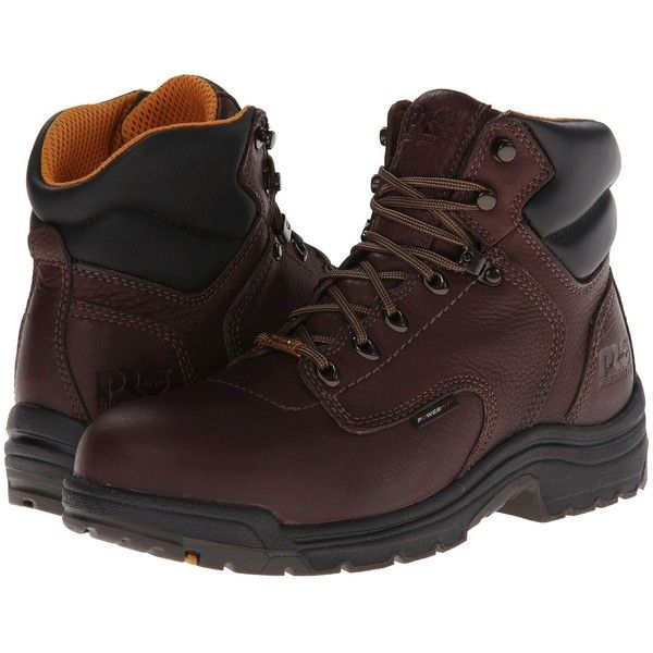 Timberland PRO TiTAN Waterproof 6 Safety Toe (Dark Mocha Full-Grain... ($155) ❤ liked on Polyvore featuring men's fashion, men's shoes, men's boots, men's work boots, mens waterproof work boots, mens steel toe work boots, mens waterproof caps, mens lace up boots and mens cap toe boots