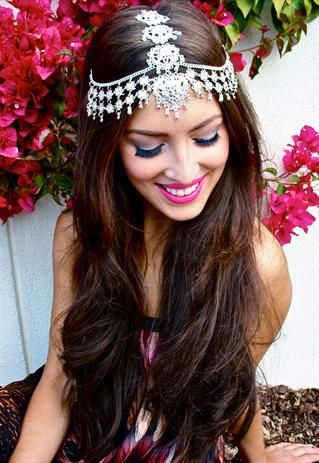 3-way Silver Headpiece / Mendhi Night Makeup
