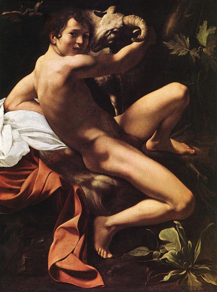 Караваджо. Баптист святой Иоанн. St. John the Baptist (Youth with Ram). c. 1600. Oil on canvas, 129 x 94 cm. Musei Capitolini, Rome.