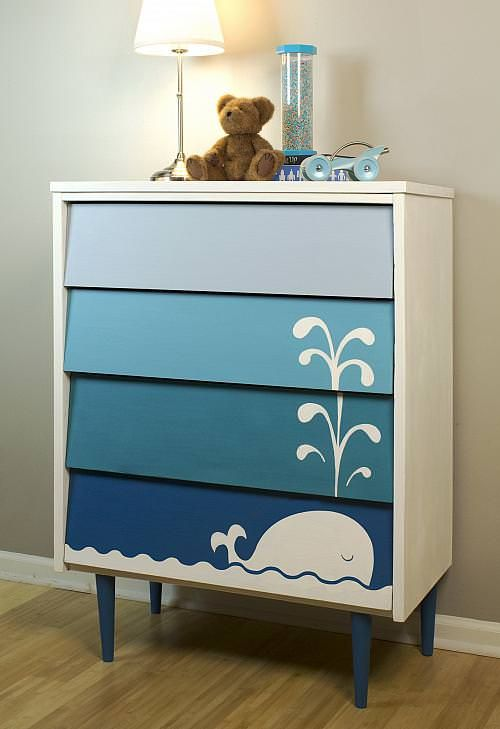 DIY blue & white ombre whale dresser using mid-century furniture for a nautical nursery theme