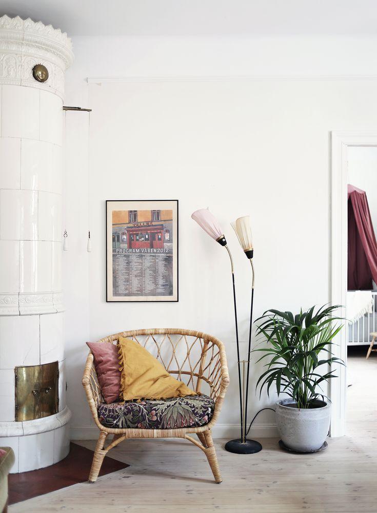 apartment century change lamp armchair rattan Ikea tile stove
