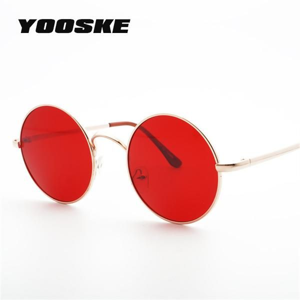 fb9e19d0d5 #FASHION #NEW YOOSKE 2018 Metal Round Sunglasses Men Women Personality  Black Big Red Sun Glasses Mirror Shades Sunglass for Womens Mens…