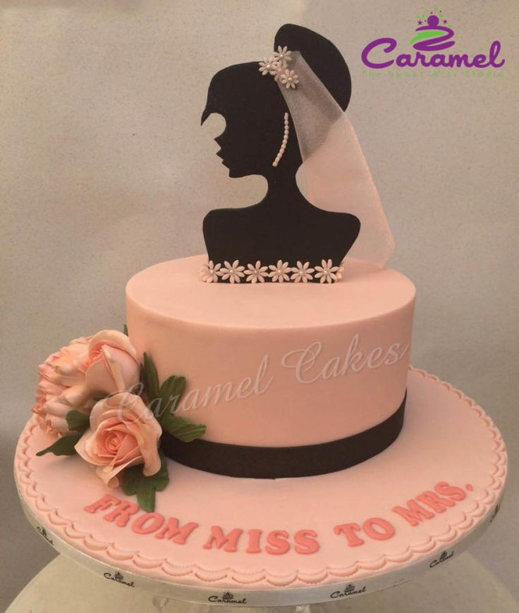 Simple Bridal Shower Cake by Caramel Doha