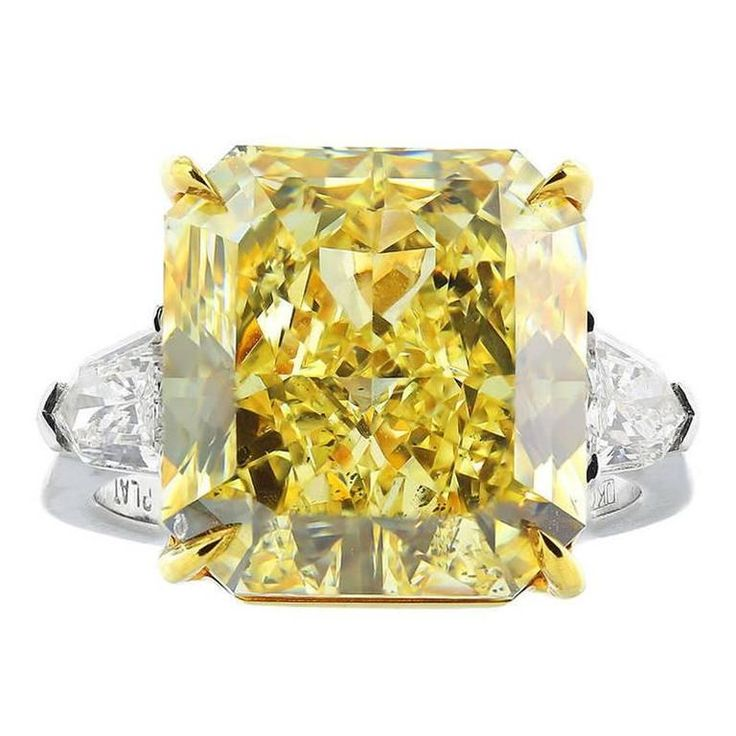 Rare 12.03 Carat Fancy Yellow Canary Diamond Gold Platinum Ring | From a unique collection of vintage engagement rings at https://www.1stdibs.com/jewelry/rings/engagement-rings/