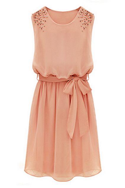ROMWE | Beaded Self-tied Pleated Pink Dress, The Latest Street Fashion #ROMWEROCOCO