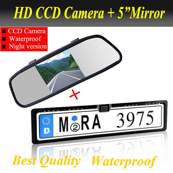 "Promotion2 in 1 HD CCD European Car License rear view camera + 5"" Car Mirror Monitor, license plate frame parking camera monitor"