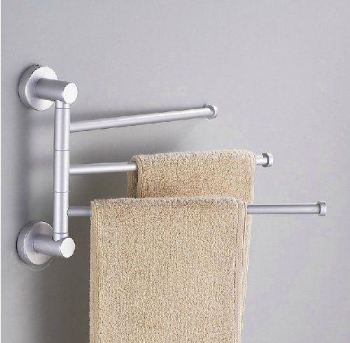 towel holder 3 swivel bars aluminium bath rack rail bathroom towel rack towel holder - Bathroom Towel Holder