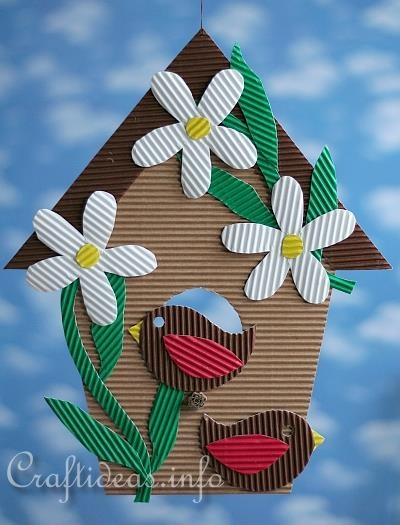 Corrugated Cardboard Birdhouse Decoration
