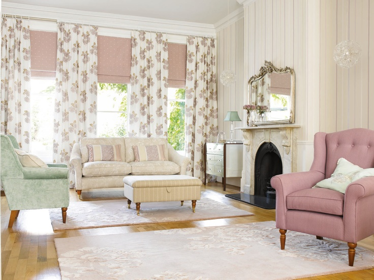 subtle charming interior mixing a range of sophisticated shades with floral and leafy patterns - Home Designs Grace Collection