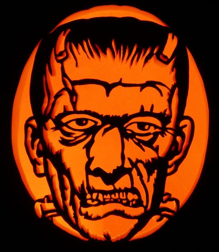 A frankenstein 39 s monster pattern i carved for Monster pumpkin carving patterns