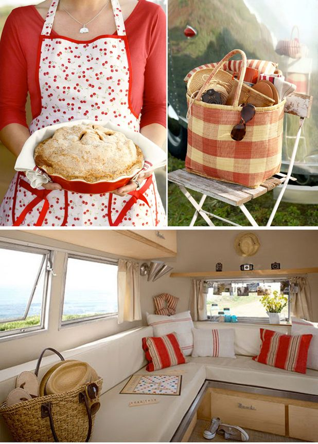 I love the red and white interior of this vintage Airstream camper. And I also love the cherry apron, which I happen to own.