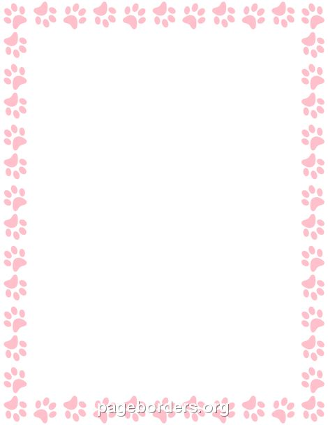 Printable pink paw print border. Use the border in Microsoft Word or other programs for creating flyers, invitations, and other printables. Free GIF, JPG, PDF, and PNG downloads at http://pageborders.org/download/pink-paw-print-border/