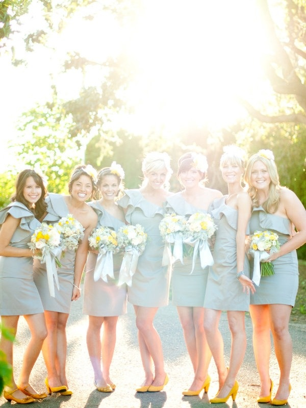 Yellow and Gray wedding: Yellow Flowers, Gray Wedding, Bridesmaid Shoes, Yellow Shoes, Yellow Heels, The Dresses, Bridesmaid Pictures, Cute Bridesmaid Dresses, Grey Dresses