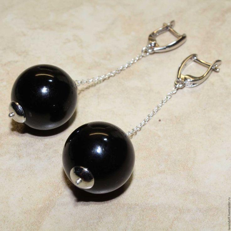 """Купить Серьги """"Акцент II"""" Серебро 925, черный агат - черный, черные шары"""