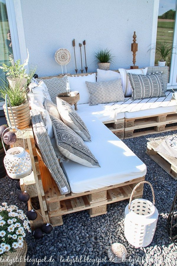 DIY Palettenlounge Dekorationsideen für Terrasse und Garten #dekorationsidee #…