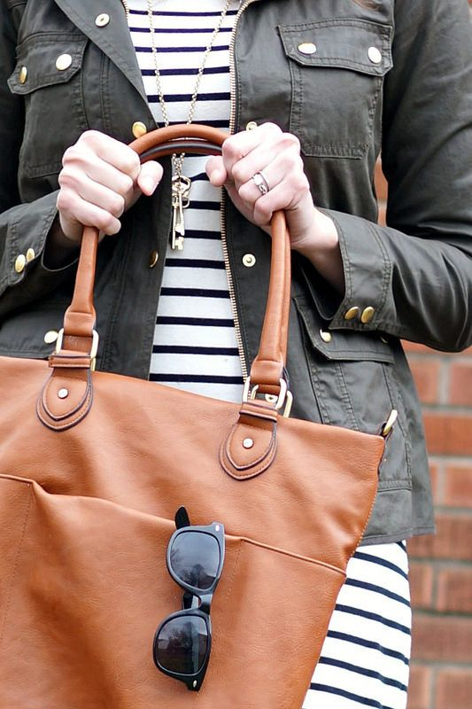 black and white stripe dress, j.crew field jacket, cognac tote and sunglasses