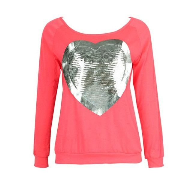 Fashion Women Neon Color Round Neck Long Sleeve T-Shirt Female Slim Casual Cute Pullover Solid Heart-shaped Sequins Top